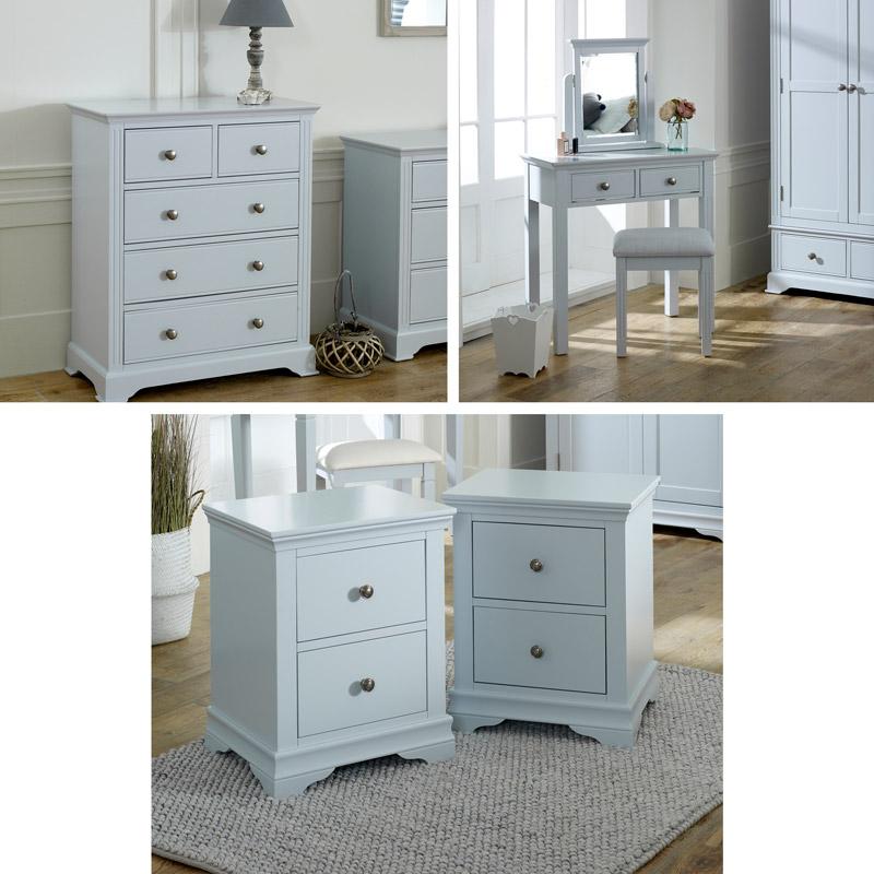 Grey Bedroom Furniture, Chest of Drawers, Dressing Table Set & Bedside Tables - Newbury Grey Range