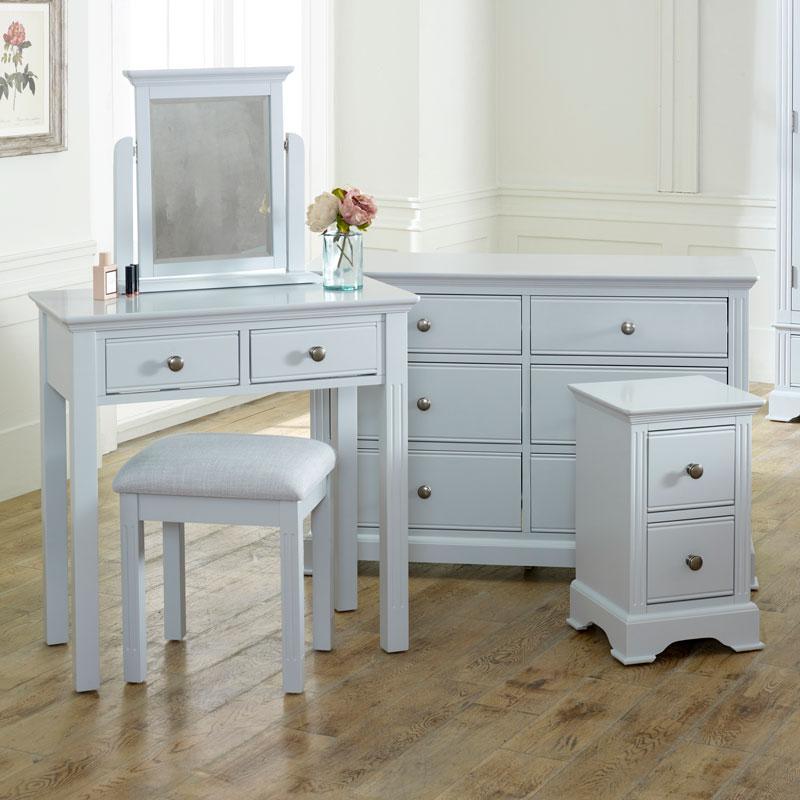 Grey Bedroom Furniture, Large Chest of Drawers, Dressing Table Set & Bedside Table - Davenport Grey Range