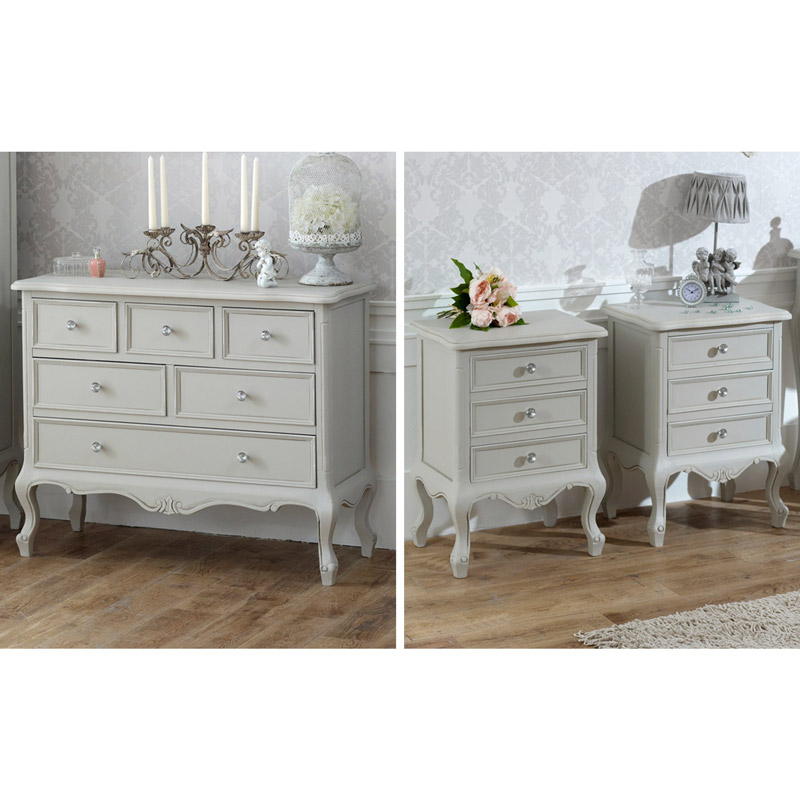 Grey Bedroom Furniture, Large Chest of Drawers & Pair of Bedside Tables - Elise Grey Range