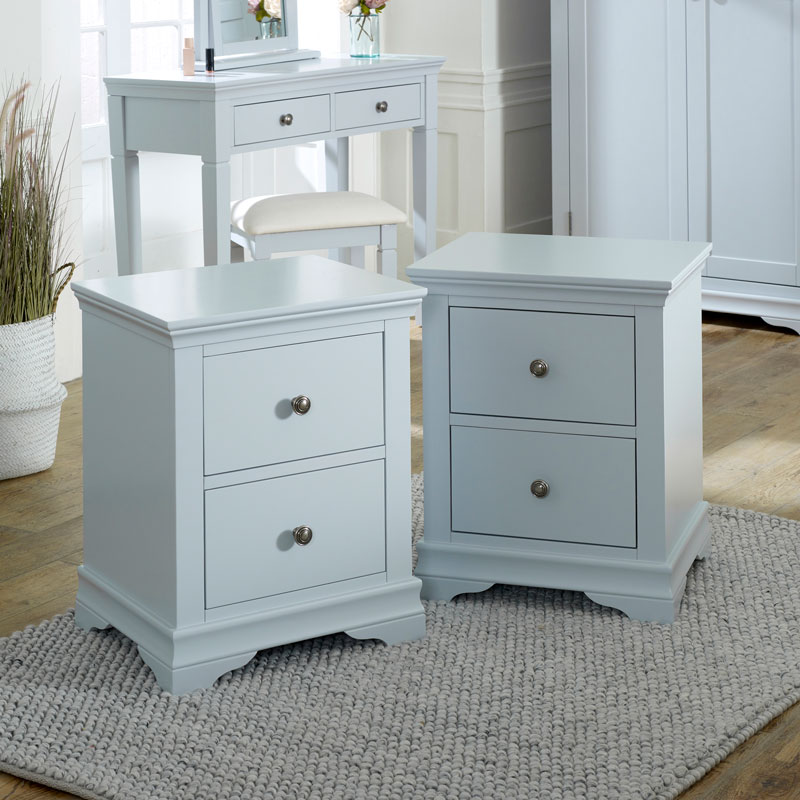Grey Bedside Table Pair - Newbury Grey Range