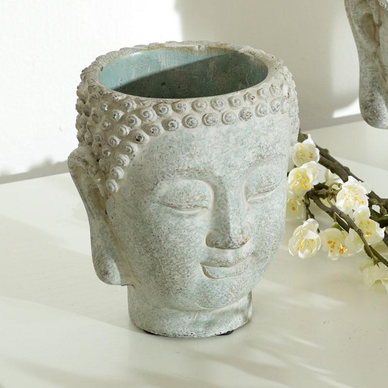 Grey Buddha Head Planter - Small