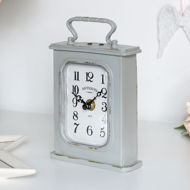 Grey Carriage Mantel Clock