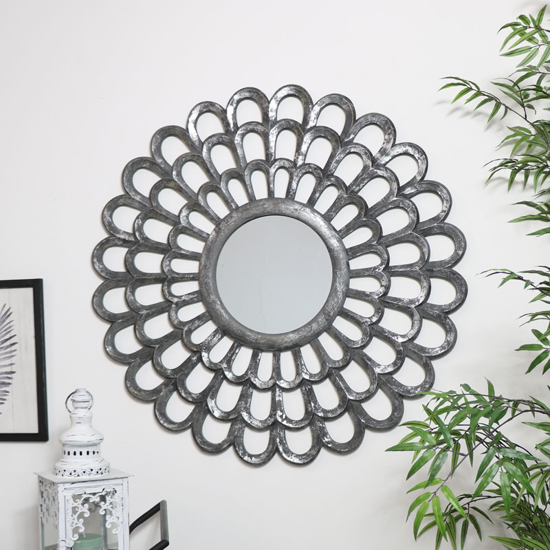 Grey Carved Wooden Flower Mirror