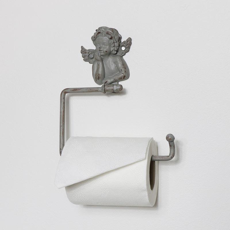 Grey Cherub Toilet Roll Holder