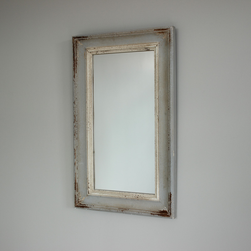 Grey distressed wall mirror bedroom wall mountable shabby for Long grey wall mirror