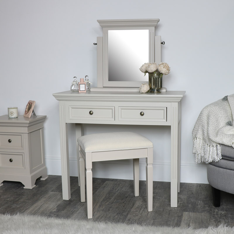 Grey Dressing Table, Stool and Mirror Set - Daventry Taupe-Grey Range