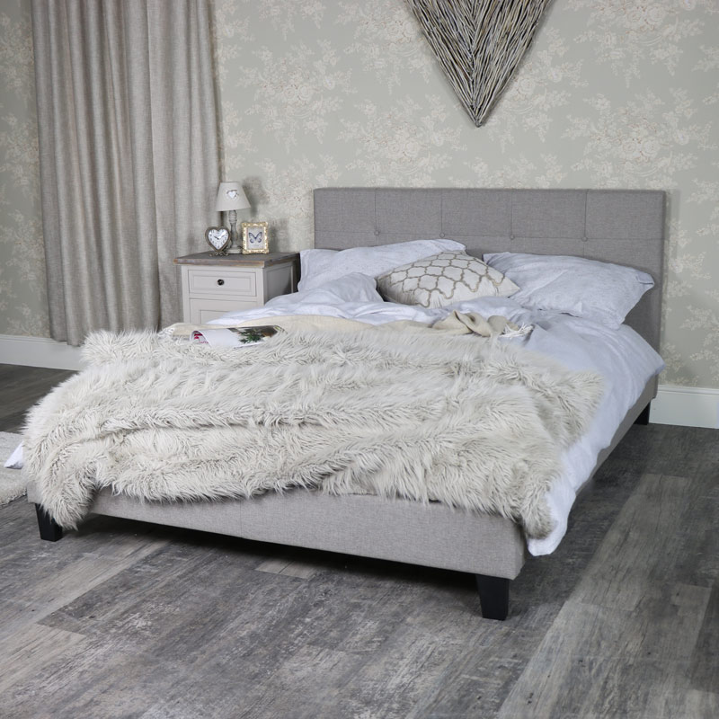 Grey Fabric Upholstered King Size Bed