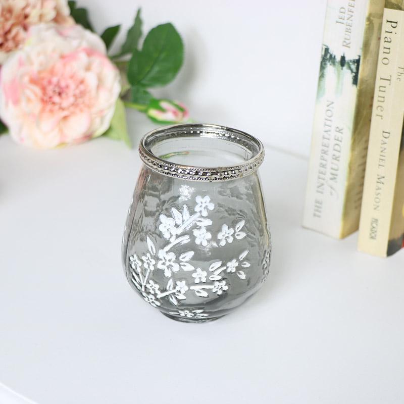 Grey Glass Blossom Tealight Holder