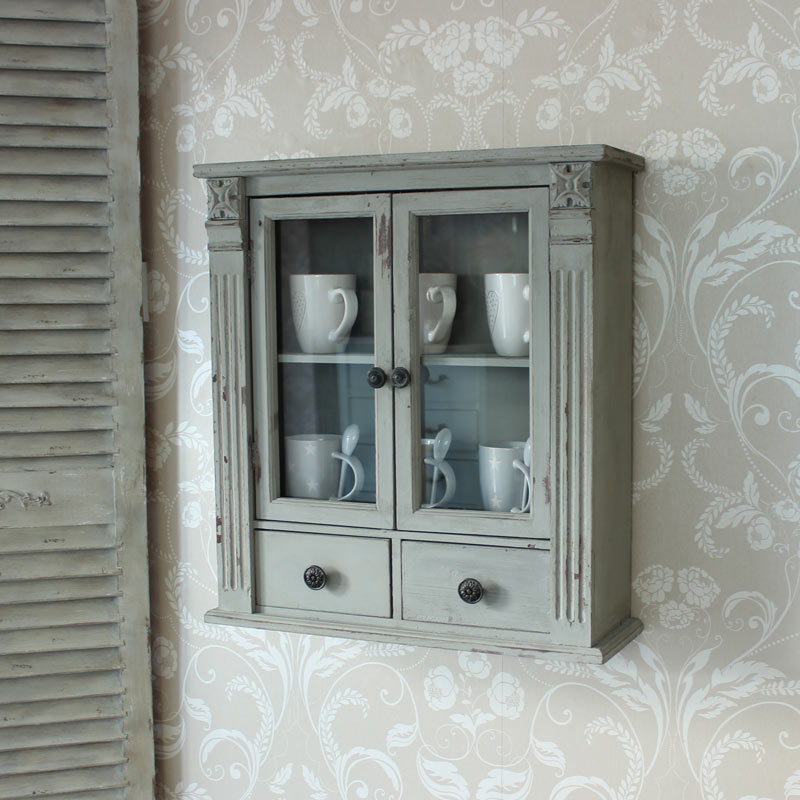 Grey wooden vintage style wall cabinet home bathroom for Grey bathroom cupboard