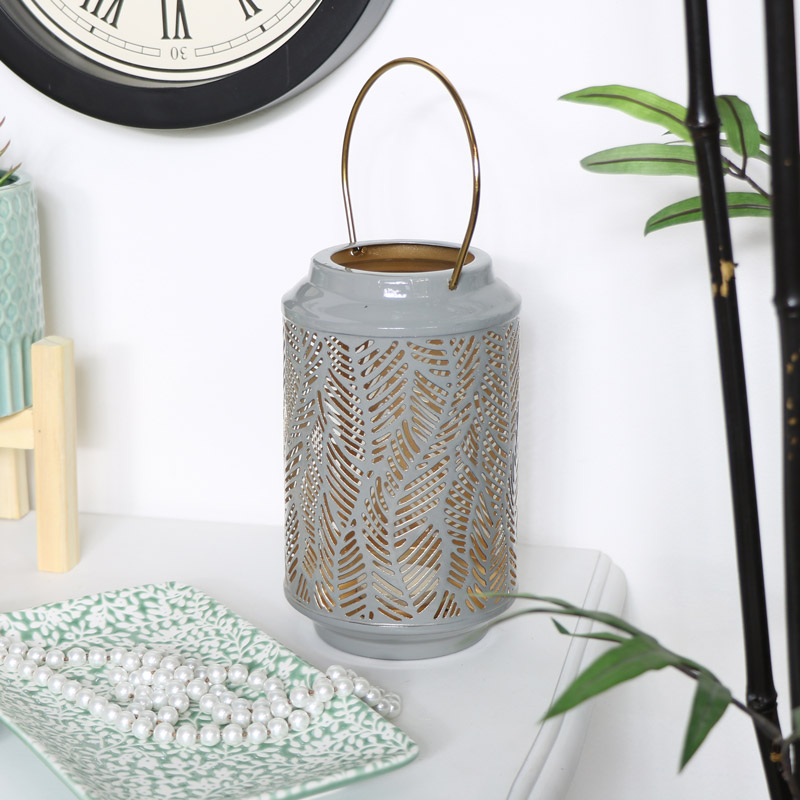 Grey & Gold Leaf Candle Lantern