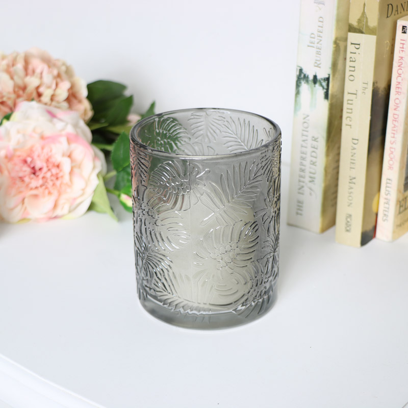 Grey Leaf Print Glass Candle Holder