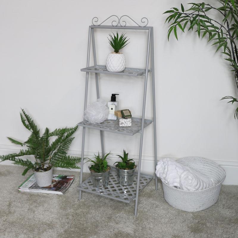 Grey Metal 3 Tier Vintage Plant Stand Shelf