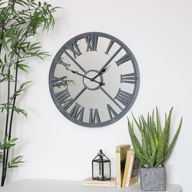Grey Metal Distressed Mirrored Wall Clock