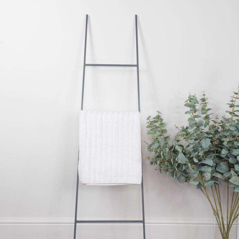 Grey Metal Towel Ladder Storage
