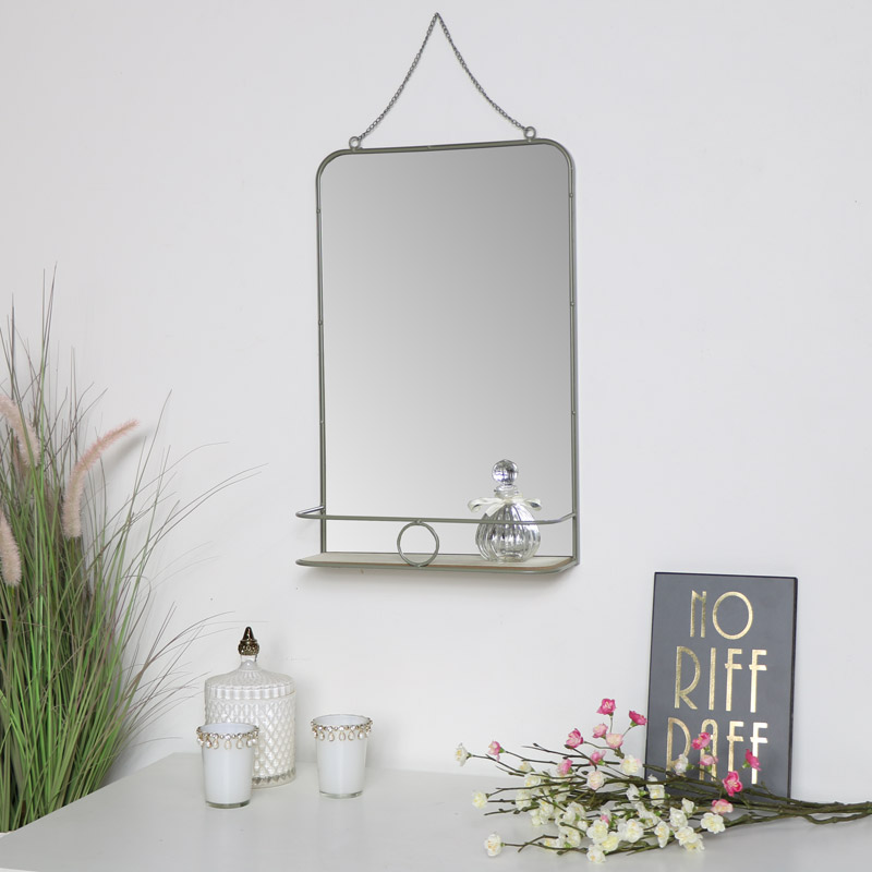 Grey Metal Vanity Wall Mirror with Shelf