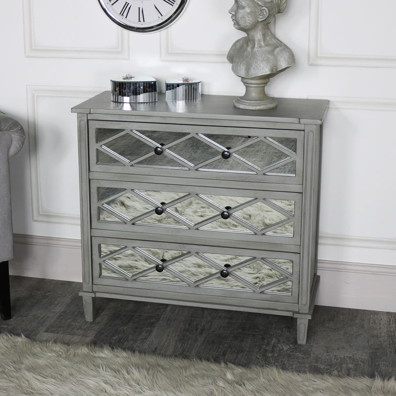 Grey Mirrored Chest of Drawers - Vienna Range