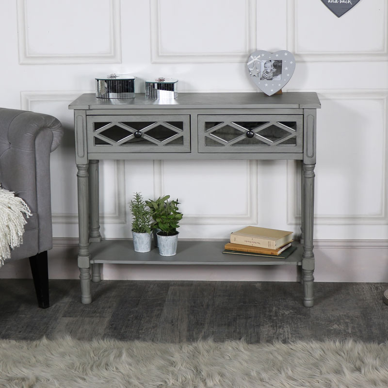 Details about Ornate grey mirror front 2 drawer console table living room  hallway furniture