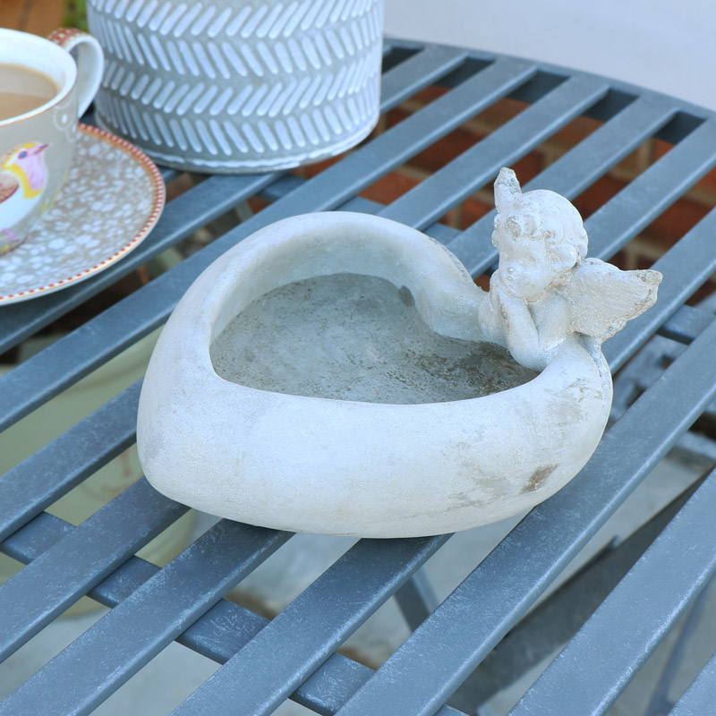 Grey Stone Cherub Heart Bird Bath