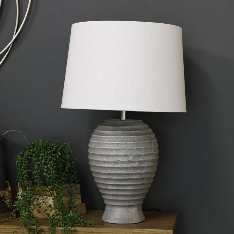 Grey Stone Round Table Lamp