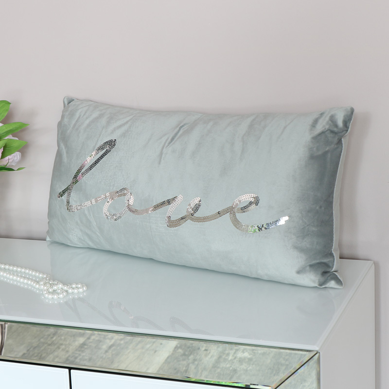 Grey Velvet Sequin Cushion
