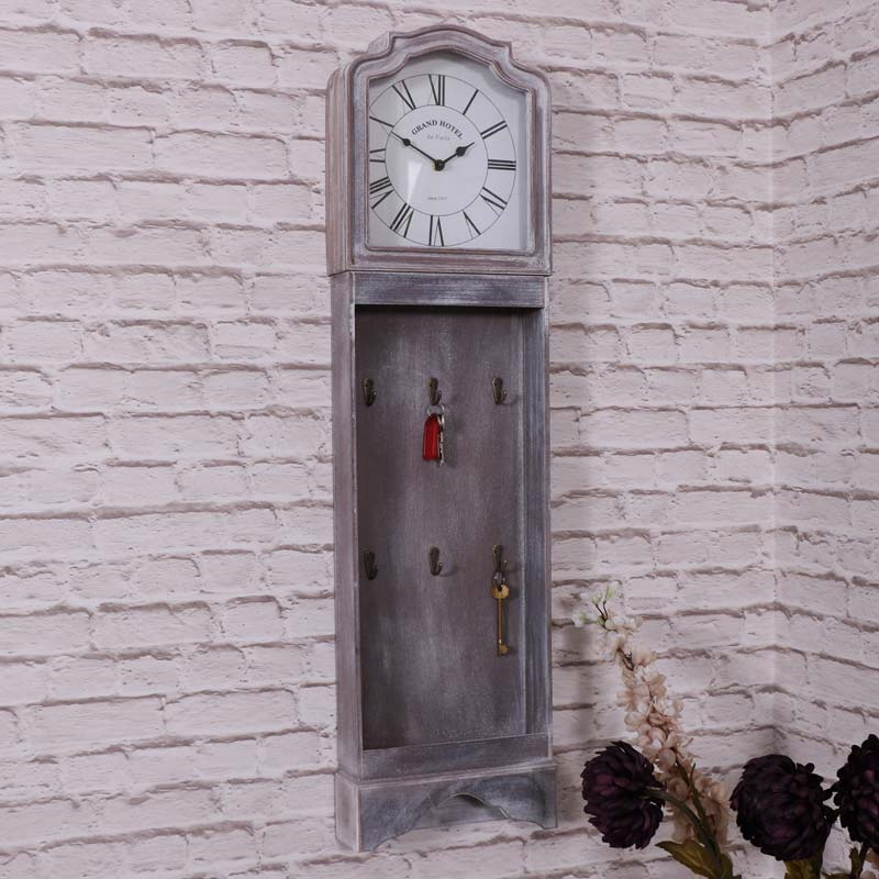 Grey vintage style grandfather clock with key hooks melody maison - Wall mounted grandfather clock ...