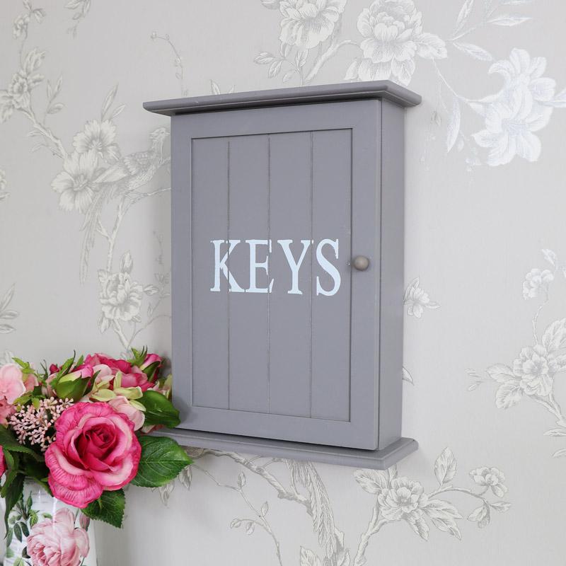 Grey wooden key hook storage cabinet cupboard wall mounted
