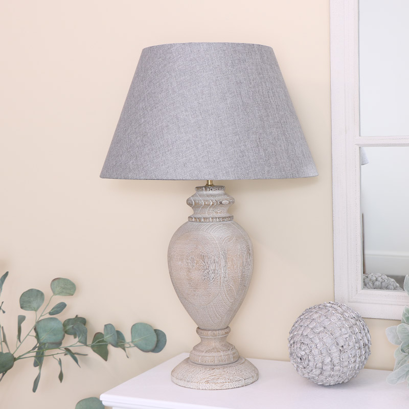 Grey Washed Wooden Lamp