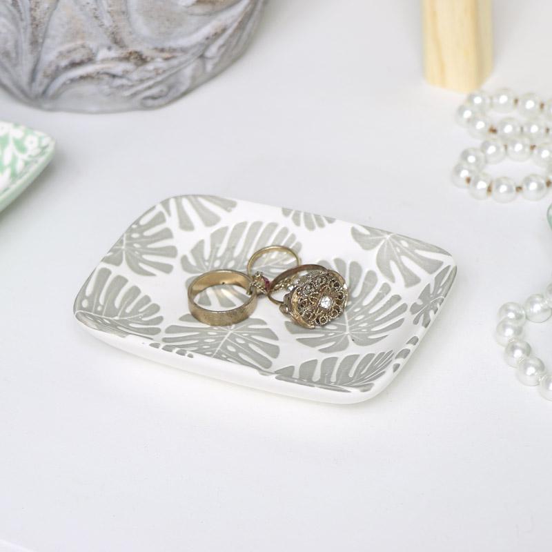 Grey & White Ceramic Leaf Dish