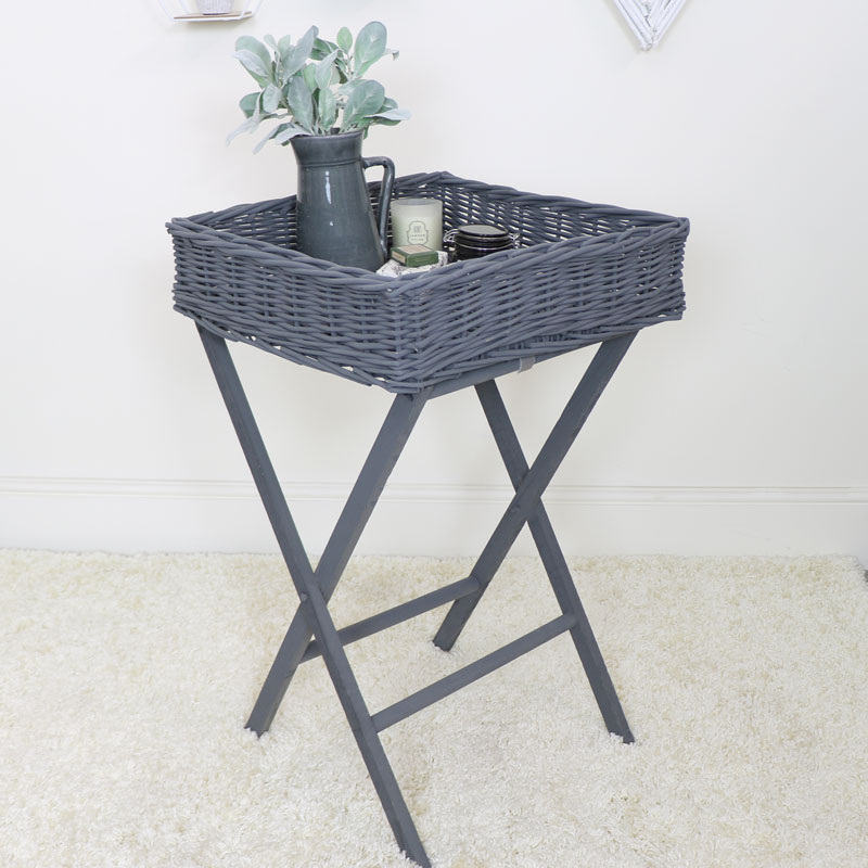 Grey Wicker Basket Butler Tray Table