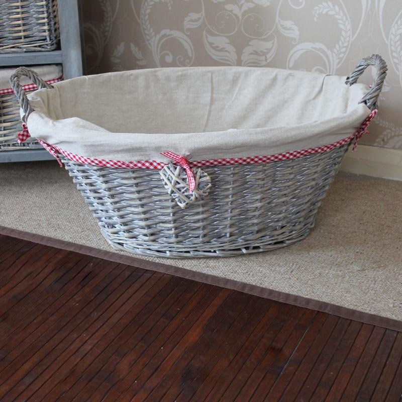 Grey Wicker Basket Uk : Grey wicker laundry basket gingham red heart