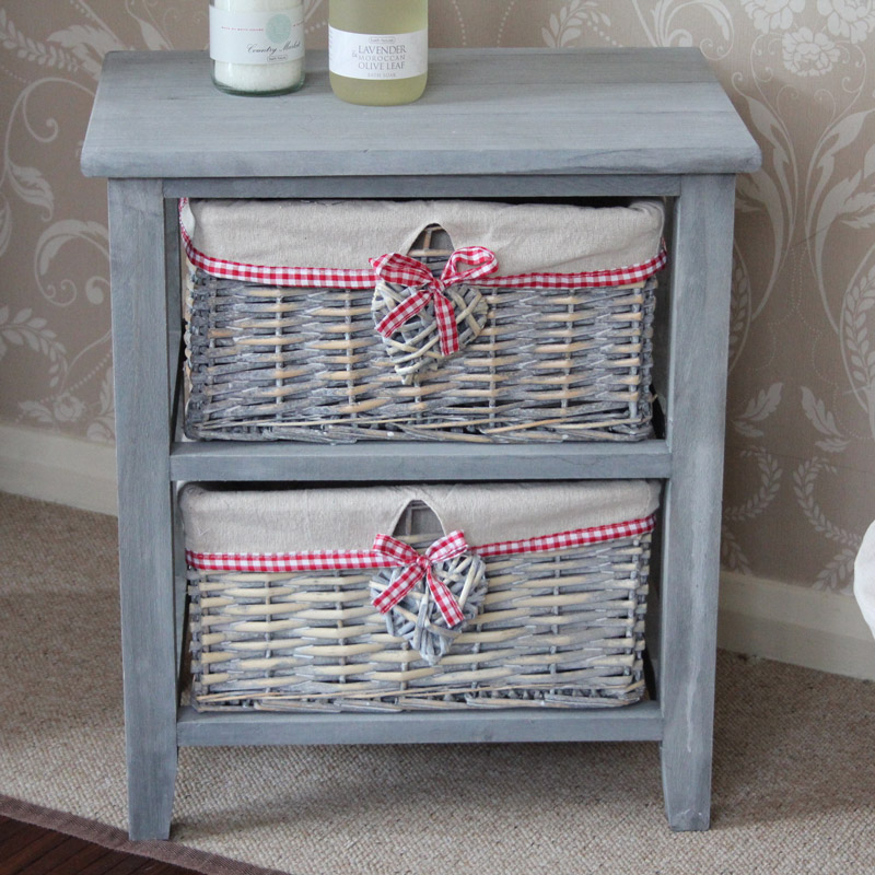 New Cream Wicker Storage Unit  One Drawer Four Baskets  Melody Maison
