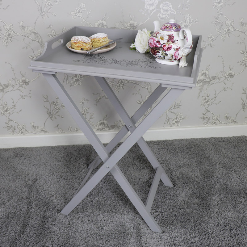 Grey Wooden Vintage Butler's Tray Table