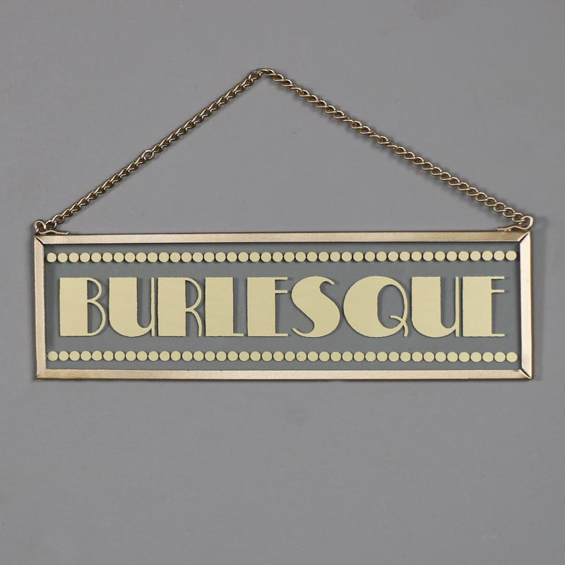 "1920s Hanging Glass Vintage Gold ""Burlesque"" Plaque"