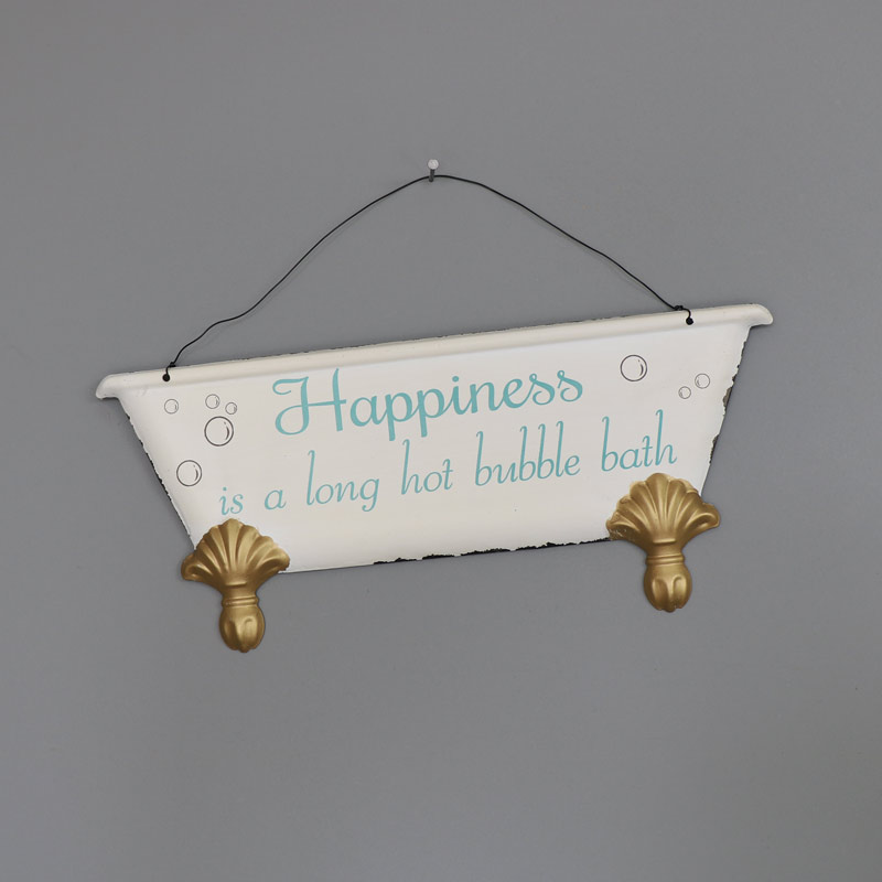 39 happiness is 39 hanging bathroom wall plaque melody for Bathroom pictures to hang on wall