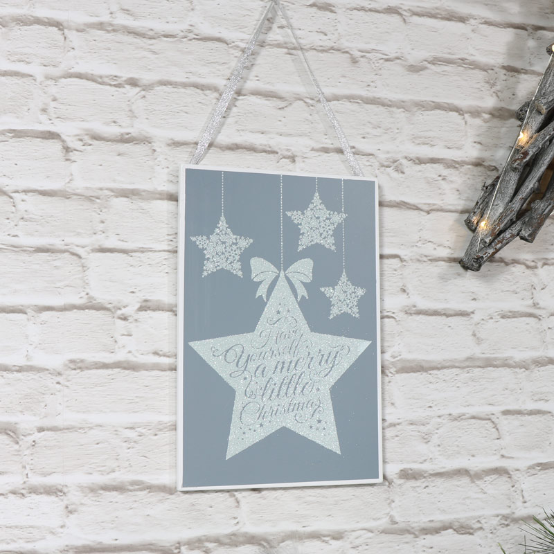'Have yourself A Merry Little Christmas' Glitter Grey Wall Plaque