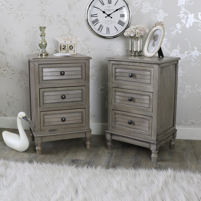 Pair of Three Drawer Bedside Tables - Hornsea Range