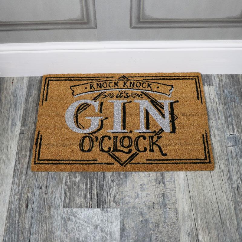 Humorous Door Mat 'Gin O'Clock'
