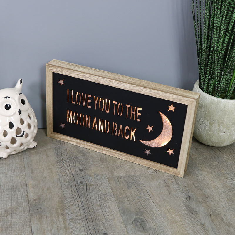 I love You To The Moon And Back LED Light Up Wall Plaque - Melody Maison