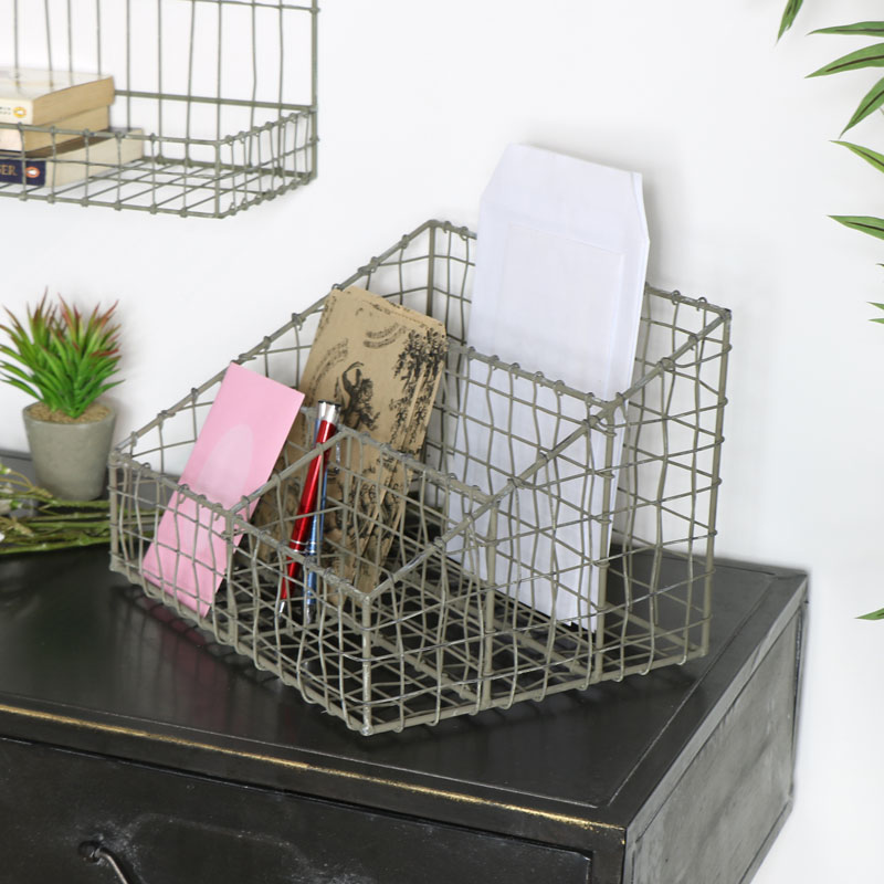 Industrial Grey Wire Desk Organiser