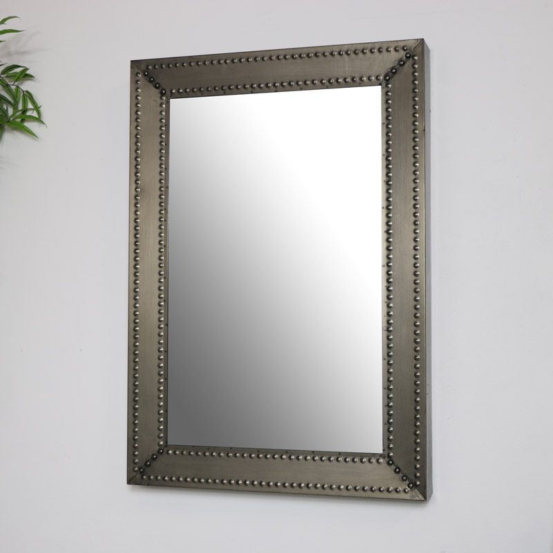 Industrial Metal Beaded Wall Mirror