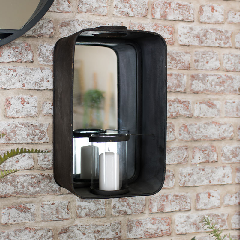 Industrial Metal Mirrored Candle Sconce