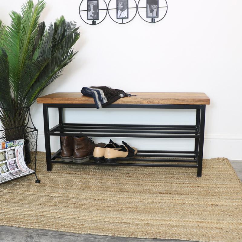 Industrial Metal & Wood Shoe Rack Bench