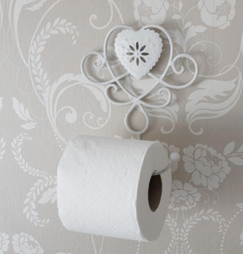 Ivory Heart Toilet Roll Holder