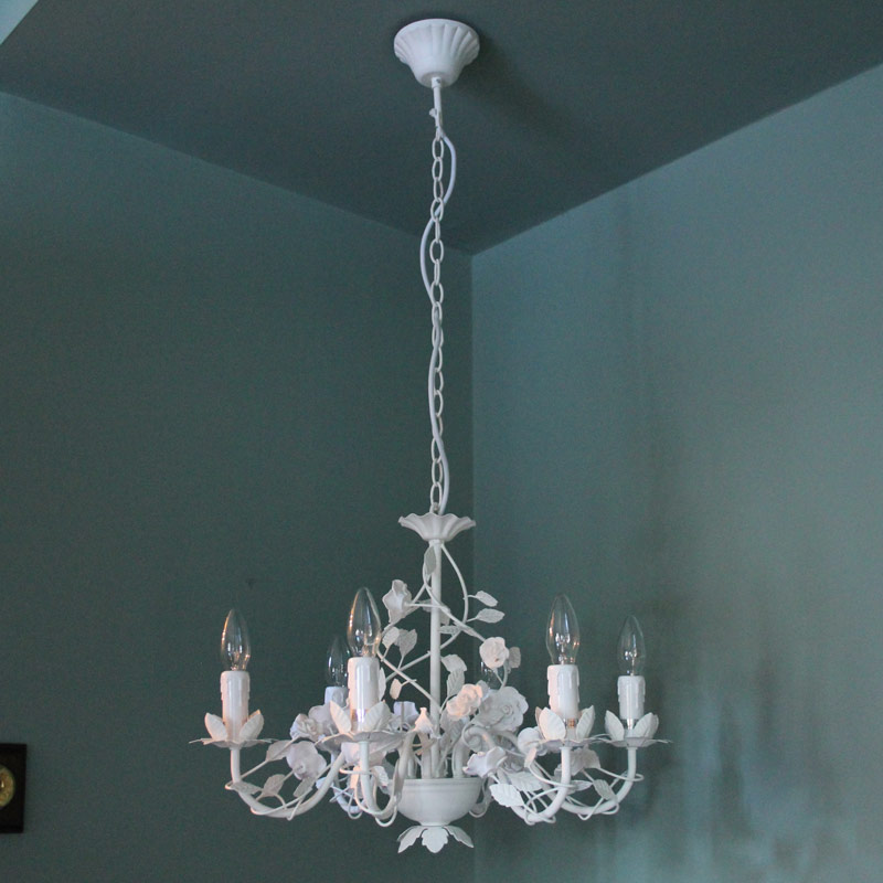 Ivory Six Lamp Rose Chandelier