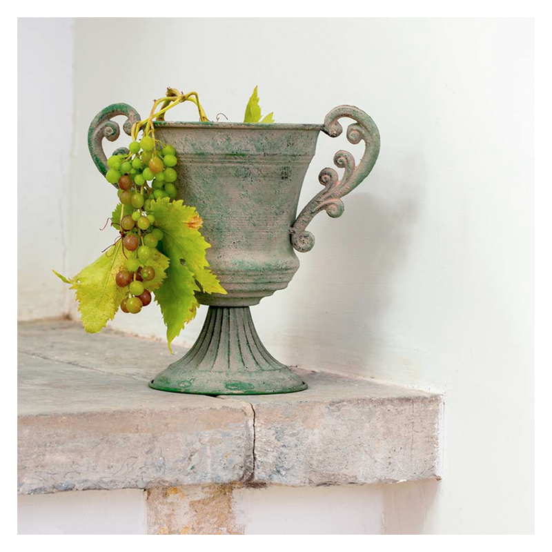 Large Antique Green Distressed Urn