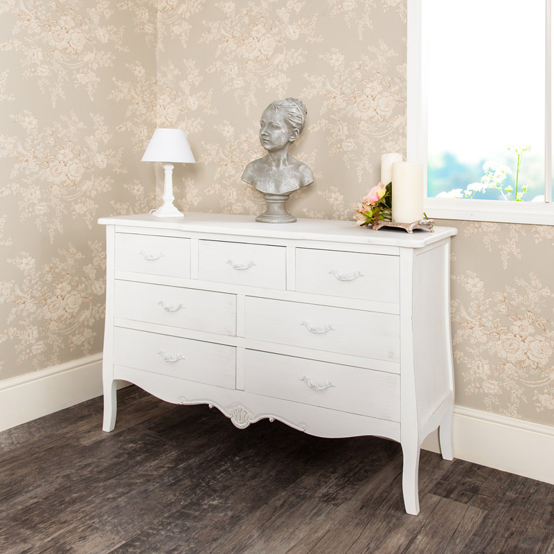 Bedroom Bins Uk White Bedroom Decorating Ideas Pictures White Venetian Blinds Bedroom Best Bedroom Ceiling Design: Large 7 Drawer Off-White Distressed Ornate Bedroom Chest