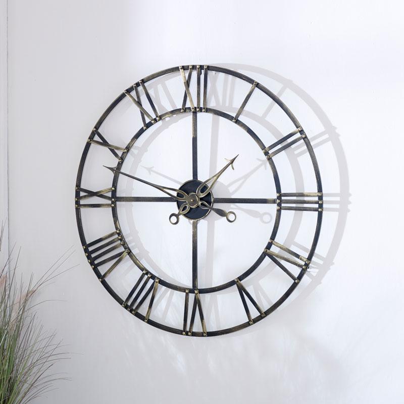 Large Antique Brass Skeleton Clock