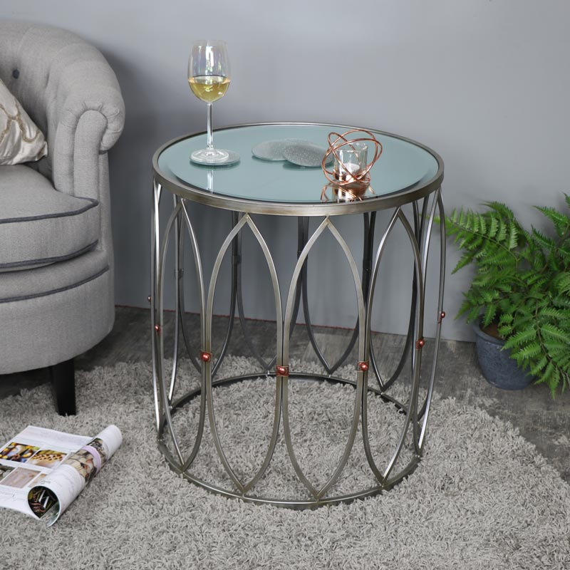 Large Silver Mirrored Side Table with Copper Stud