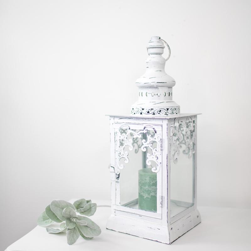Large Antique White Vintage Metal Candle Lantern