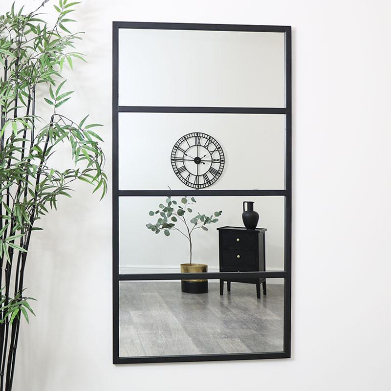 Large Black 4 Panel Window Mirror, Large Mirror Wall Stickers Uk